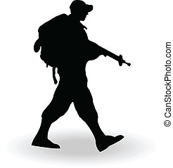 Silhouette of an army soldier walking on and against white...