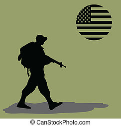 Silhouette of an army soldier walking on green background...
