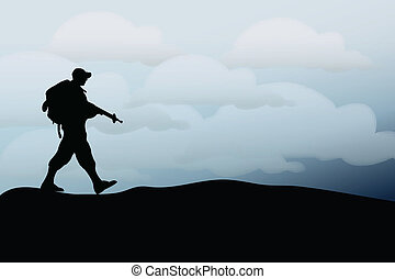 Silhouette of an army soldier walking