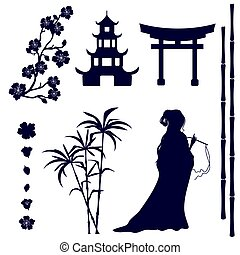 Silhouette of an Asian girl, pagoda, gate, sakura flowers, bamboo stems on a white background. Set of design elements isolated from the background.