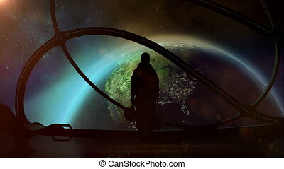 Silhouette of an astronaut in a spaceship