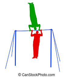 Silhouette of an athlete on the horizontal bar. Vector illustration.