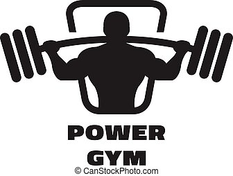 Silhouette of an athlete with a barbell.
