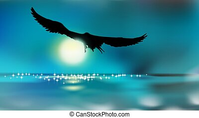 Silhouette of an eagle, flying over the water by moonlight, art background. Full moon over surface reservoir. Twilight dark night sky in blue toned. Vector illustration