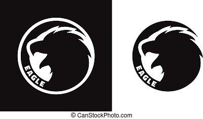 Silhouette of an eagle, monochrome logo.