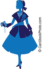 Silhouette of an elegant woman dressed in the style of Dior