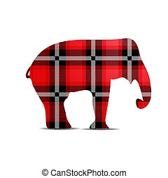 Silhouette of an elephant in tartan style isolated on a white background