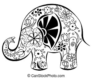 Silhouette of an elephant painted by flowers. Black on white. Vector cartoon illustration.