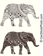 elephant with oriental patterns