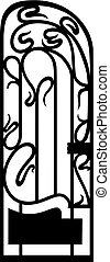 silhouette of an ironwork gate - Vector illustration of an...