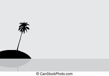 Silhouette of an island