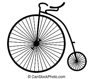 old bicycle - silhouette of an old bicycle on white...