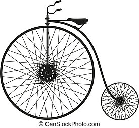Silhouette of an old bicycle