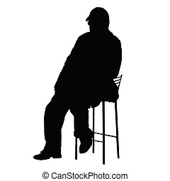 Silhouette of an old man sitting on a chair