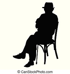 Silhouette of an old man with a cane sitting on a chair