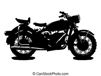 Silhouette of an old motorcycle.