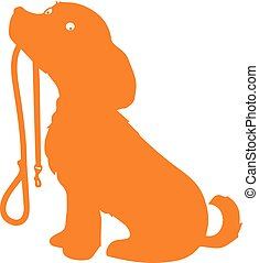 Silhouette of an orange dog with a strap, on a white background.