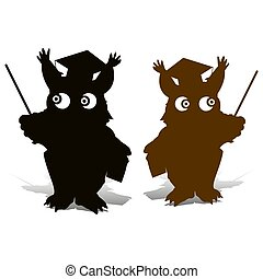 Silhouette of an owl with a school stick, and in a judge?s hat, and comic eyes, on a white background