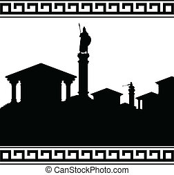 silhouette of ancient city