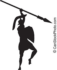 ancient Creek warrior - silhouette of ancient Creek warrior