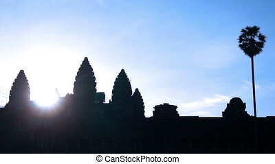 Angkor Wat  - Silhouette of Angkor Wat during Sunrise.