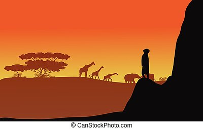 Silhouette of animals africa