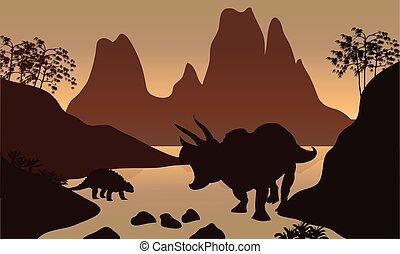 Silhouette of ankylosaurus in river