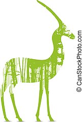 silhouette of antelope - Woodland eco banner. Wildlife....