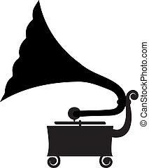 Silhouette of antique gramophone