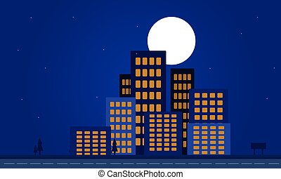 Silhouette of apartment building at night