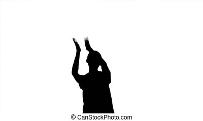 Silhouette of applauding woman on white background.