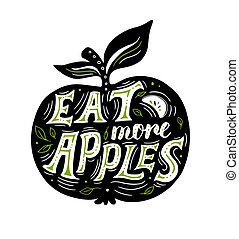 Silhouette of apple and lettering