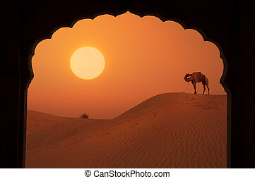 silhouette of arabic architecture on desert during a...