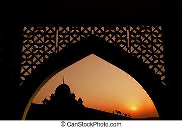 silhouette of arabic architecture  on desert