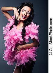 Silhouette of Artistic Woman - Fancy Dress Party. Happy DJ Having Fun