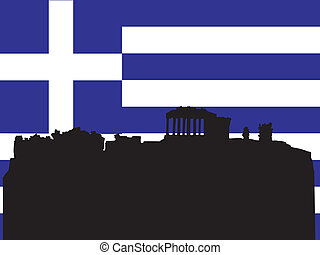 silhouette of Athens on Greece flag background
