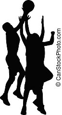 Silhouette of athletic basketball players jumping to score a shot
