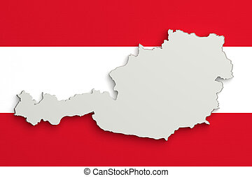 Silhouette of Austria map with flag