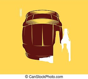 Silhouette of barrels and beer bottles, vector illustration