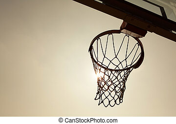 silhouette of Basketball Basket in the sunset