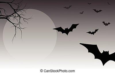 Silhouette of bat halloween