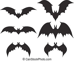 Silhouette of bat with big wings