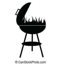 silhouette of BBQ isolated on white background, vector