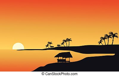 Silhouette of beach at morning