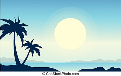 Silhouette of beach with big moon landscape