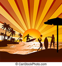 silhouette of beach with human surfing,playing volleyball, view of coconut trees