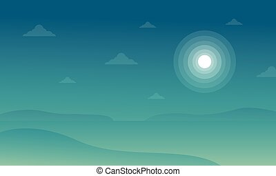 Silhouette of beach with moon landscape