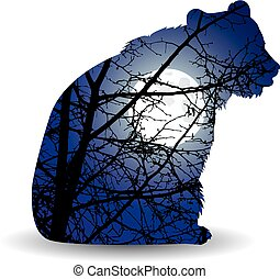 Silhouette of bear - Silhouette of sitting brown bear with...