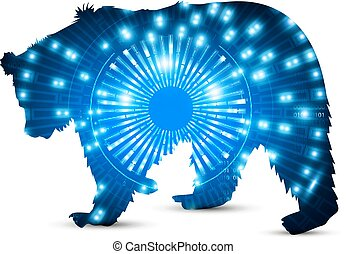 Silhouette of bear with hi tech eye neon background.