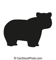 Silhouette of bear in cartoon style isolated on white background